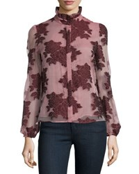 Co Ruffle Neck Floral Jacquard Top Burgundy Maroon