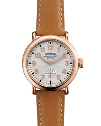 The Runwell Rose Golden Watch With Tan Leather Strap 36Mm Shinola