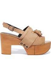 Robert Clergerie Clara Patent Leather Trimmed Suede Clogs Beige