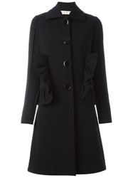 Marni Ruffled Mid Length Coat Black