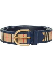 Burberry 1983 Check And Leather D Ring Belt Blue