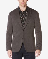Perry Ellis Men's Extra Slim Fit Heathered Knit Jacket Charcoal