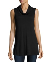 Neiman Marcus Cowl Neck Sleeveless Swing Tunic Black