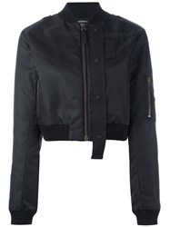 Anthony Vaccarello Cropped Bomber Black