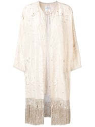 Forte Forte Embroidered Fringed Cardigan White