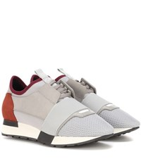 Balenciaga Leather Trimmed Sneakers Grey