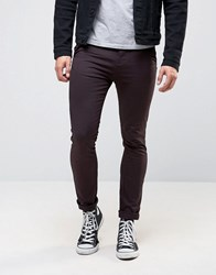 New Look Skinny Chinos In Burgundy Dark Burgundy Red