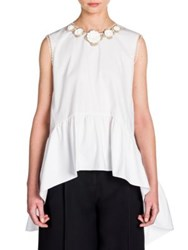 Fendi Leather Applique Ruffled Cotton Hi Lo Blouse White
