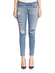 Ag Adriano Goldschmied Middi Distressed Ankle Jeans Light Blue