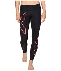 2Xu Mid Rise Compression Tights Black Fiery Coral Women's Workout