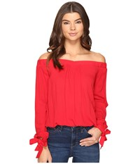 Brigitte Bailey Dafne Long Sleeve Off The Shoulder Top Red Women's Clothing
