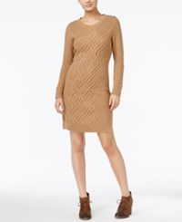 Tommy Hilfiger Adela Cable Knit Sweater Dress Warm Khaki Heather