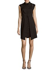 Shoshanna Blended Cotton Shirtdress Jet Black