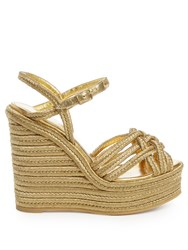 Saint Laurent Espadrille Wedge Sandals Gold