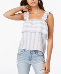 Almost Famous Juniors' Striped Ruffle Trimmed Tank Top Blue White Stripe