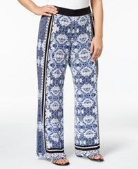Inc International Concepts Plus Size Printed Soft Pants Only At Macy's Floral Tapestry