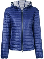 Duvetica Hooded Padded Jacket Women Cotton Polyamide Duck Feathers 46 Blue