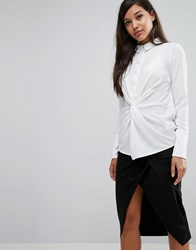Lavish Alice Twist Front Shirt White