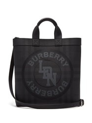Burberry Logo Print Coated Canvas Tote Bag Grey
