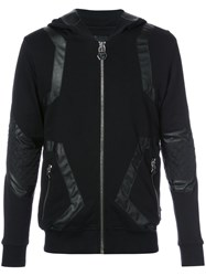 Philipp Plein Leather Stripe Hoody Men Cotton L Black
