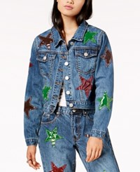 By Glamorous Cotton Patched Trucker Jacket Created For Macy's Blue Stone
