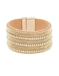 Design Lab Lord And Taylor Crystal Microbead Bangle Bracelet Gold