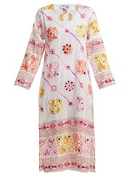 Juliet Dunn Sequin Embellished Embroidered Cotton Dress White Multi
