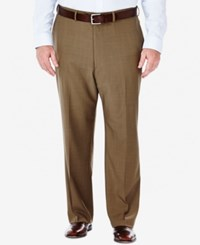 Haggar Men's Big And Tall Stria Classic Fit Eclo Flat Front Dress Pants Khaki