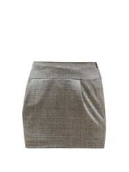 Alexandre Vauthier Prince Of Wales Check Wool Blend Skirt Grey Multi