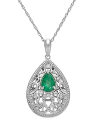 Macy's Emerald 5 8 Ct. T.W. And Diamond Accent Pendant Necklace In Sterling Silver