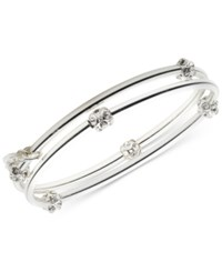 Nine West 2 Pc. Set Crystal Bangle Bracelets Silver