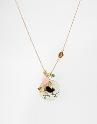 Johnny Loves Rosie Necklace With Bird Charm Black
