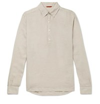 Barena Linen Half Placket Shirt Neutral