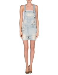 Manila Grace Denim Short Overalls Blue