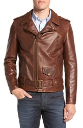 Schott Nyc Men's 'Perfecto' Slim Fit Waxy Leather Moto Jacket Brown