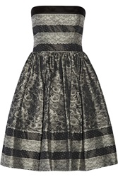Red Valentino Lace Print Taffeta Mini Dress Gray