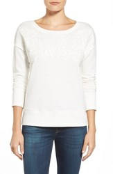 Women's Caslon Embroidered Sweatshirt Ivory Cloud Embroidery