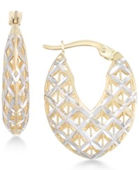 Macy's Openwork Two Tone Chunky Hoop Earrings In 14K Gold And White Gold