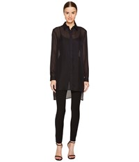Versace Sheer Collared Long Sleeve Blouse Nero Women's Blouse Black