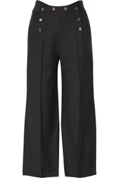 Temperley London Opus Cropped Button Detailed Twill Wide Leg Pants Black