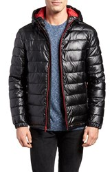 Cole Haan Men's Quilted Faux Leather Hooded Puffer Jacket Black Red
