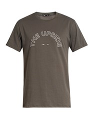 The Upside Logo Print Crew Neck Cotton T Shirt Grey