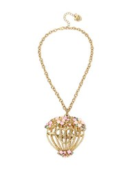 Betsey Johnson Faceted Stone Flower Cage Pendant Necklace Gold