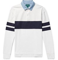 J.Crew Chambray Trimmed Striped Cotton Jersey Polo Shirt White