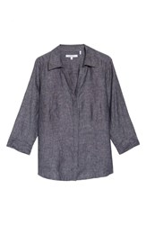 Foxcroft Plus Size Taylor Three Quarter Sleeve Linen Shirt Black