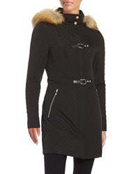 Ivanka Trump Quilted Faux Fur Trimmed Coat Black