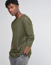 Selected Homme Longline Long Sleeve T Shirt With Curved Hem In Marl Olive Nights Green