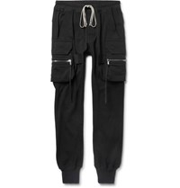 Rick Owens Slim Fit Tapered Cotton Jersey Cargo Sweatpants Black