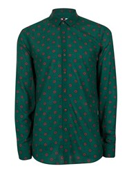 Topman Forest Green And Red Geo Print Casual Shirt