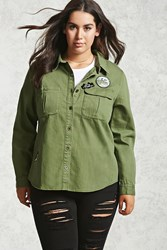 Forever 21 Plus Size Patch Denim Jacket Olive